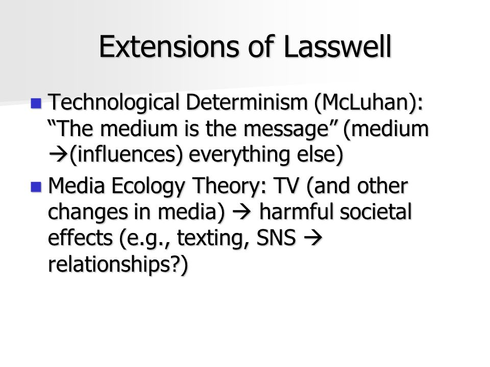 Extensions of Lasswell