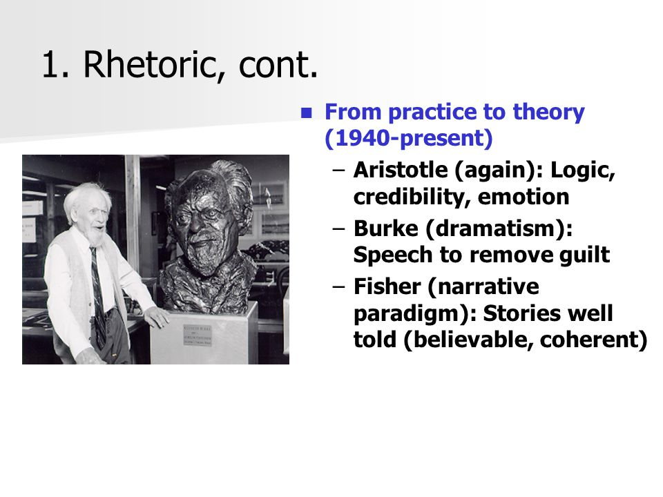 1. Rhetoric, cont. From practice to theory (1940-present)