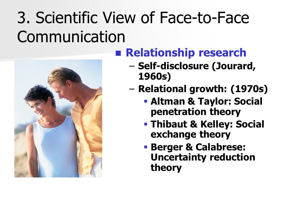 3. Scientific View of Face-to-Face Communication