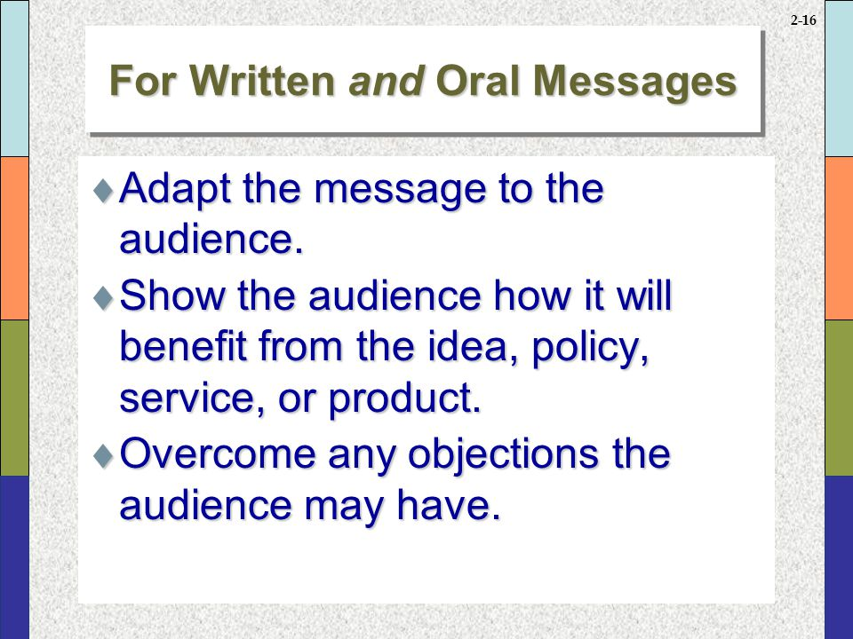 For Written and Oral Messages continued