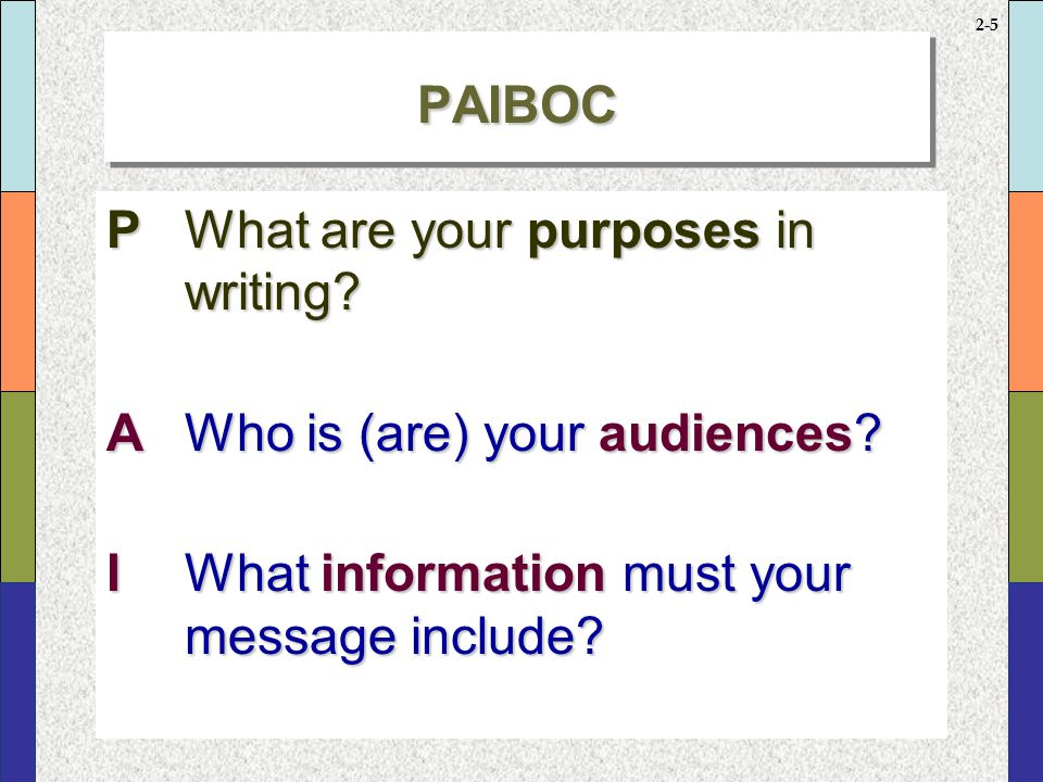PAIBOC continued B What reasons or reader benefits can you use to support your position O What objections can you expect your reader(s) to have
