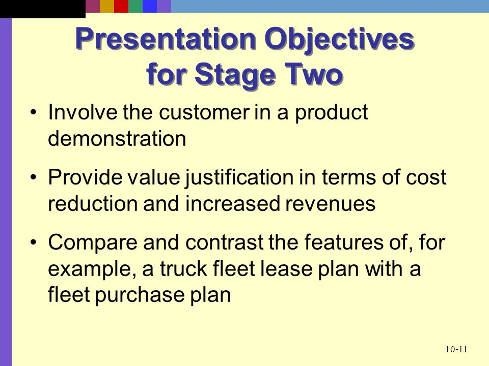 Presentation Objectives for Stage Two