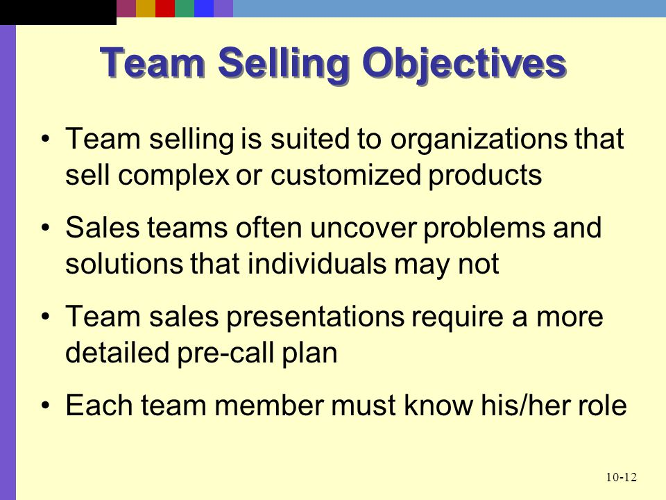 Team Selling Objectives