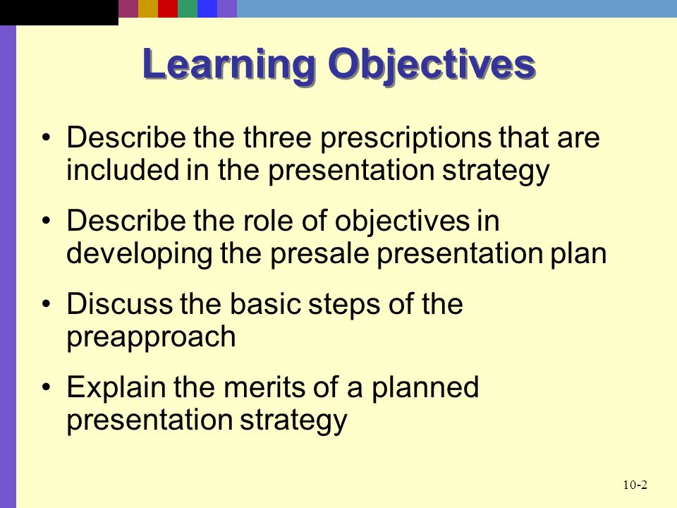 Learning Objectives Describe the three prescriptions that are included in the presentation strategy.