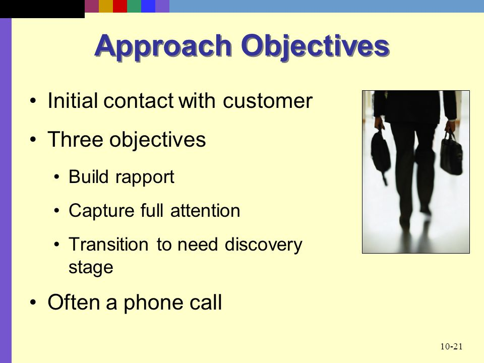 Approach Objectives Initial contact with customer Three objectives