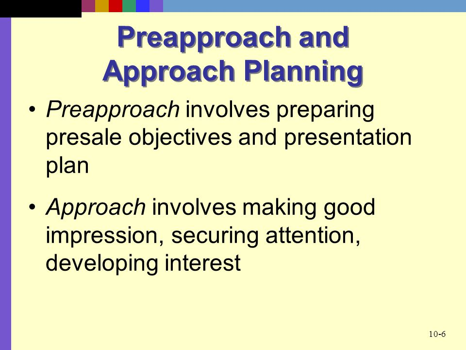 Preapproach and Approach Planning