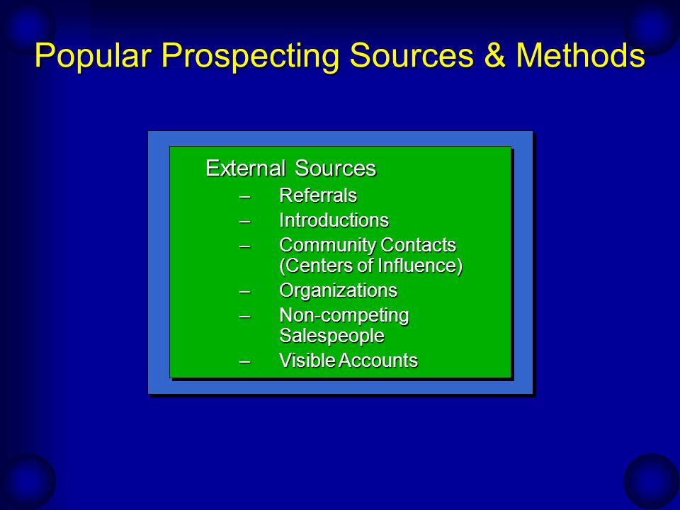 Popular Prospecting Sources & Methods