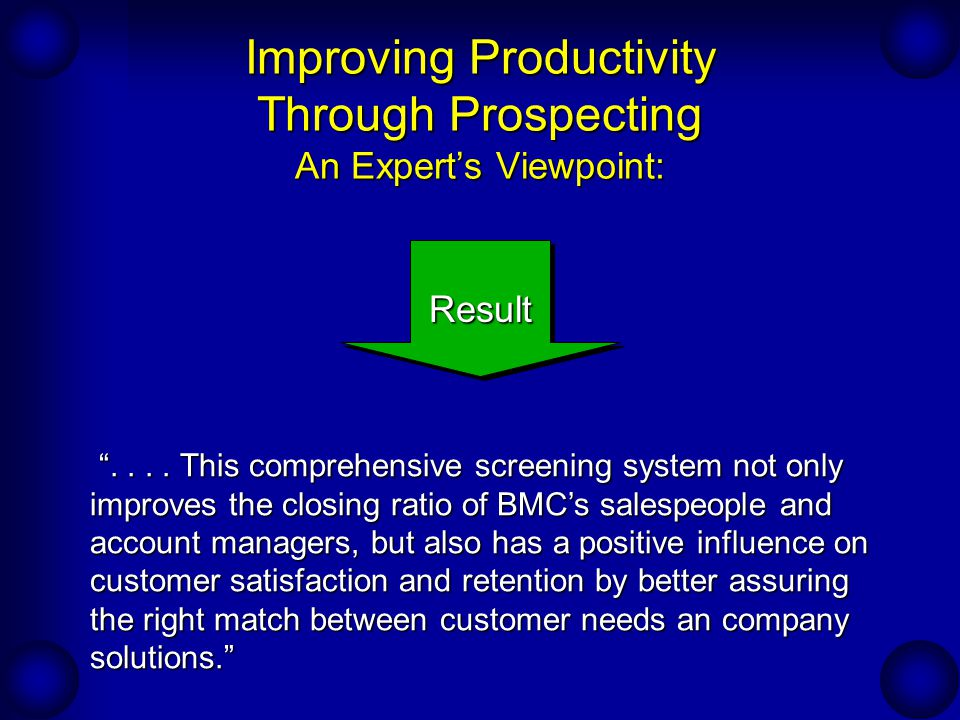 Improving Productivity Through Prospecting An Expert's Viewpoint: