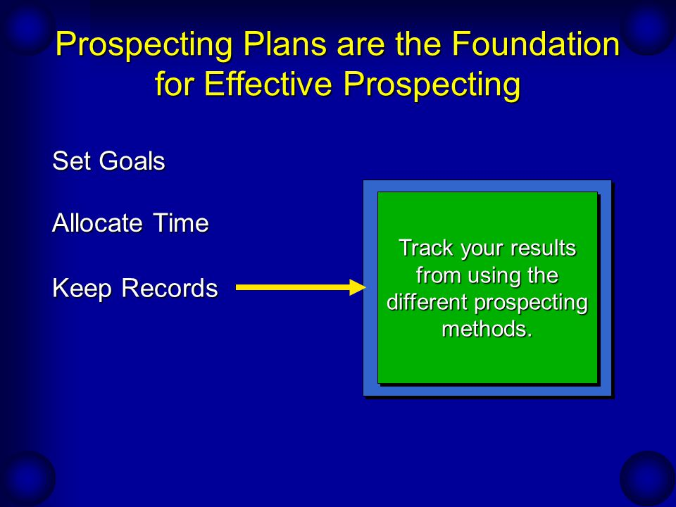 Prospecting Plans are the Foundation for Effective Prospecting