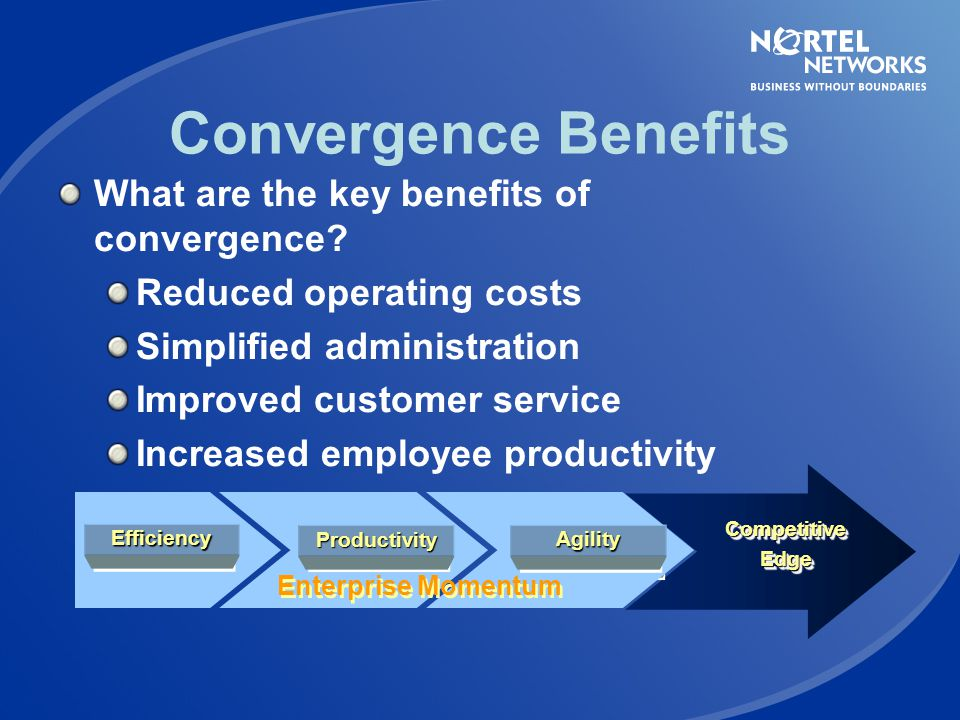 Convergence Benefits What are the key benefits of convergence