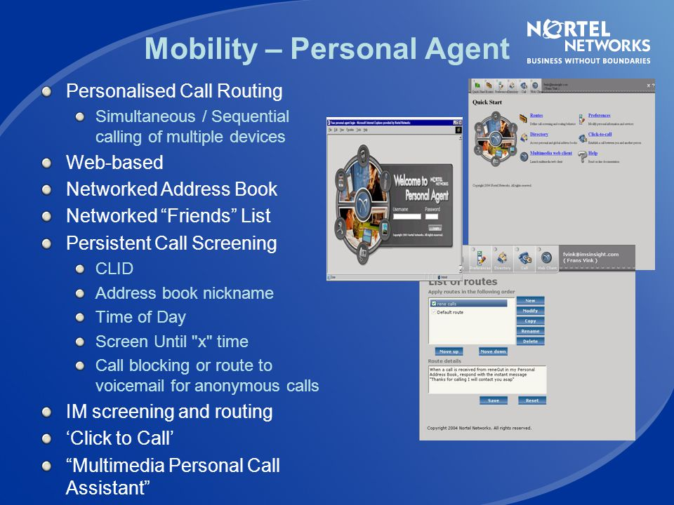 Mobility – Personal Agent