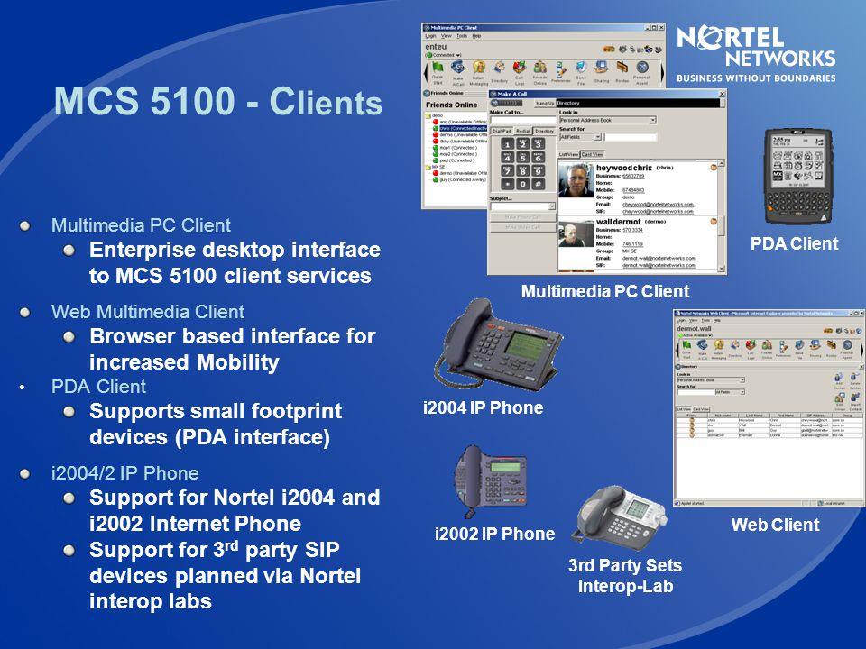 MCS 5100 - Clients PDA Client. Multimedia PC Client. Enterprise desktop interface to MCS 5100 client services.