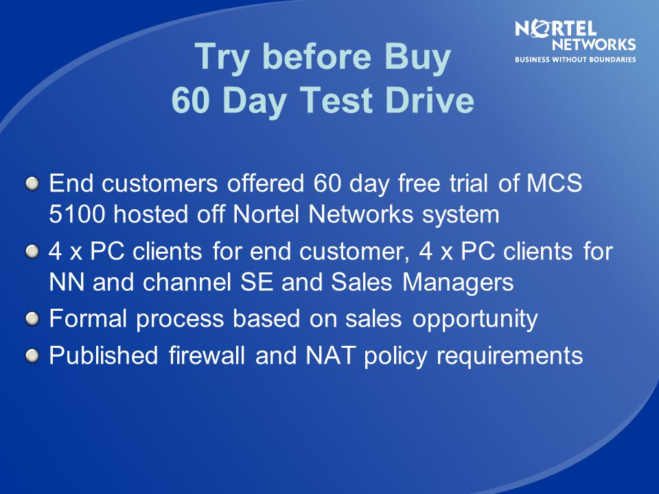 Try before Buy 60 Day Test Drive