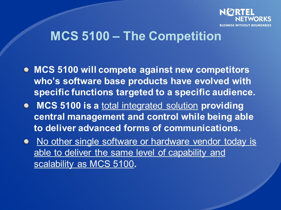 MCS 5100 – The Competition