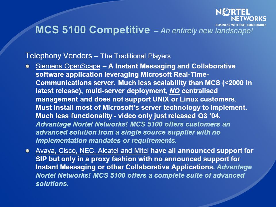 MCS 5100 Competitive – An entirely new landscape!