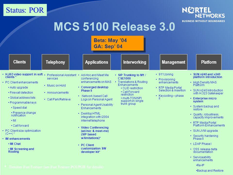 MCS 5100 Release 3.0 Status: POR Beta: May '04 GA: Sep' 04 Clients