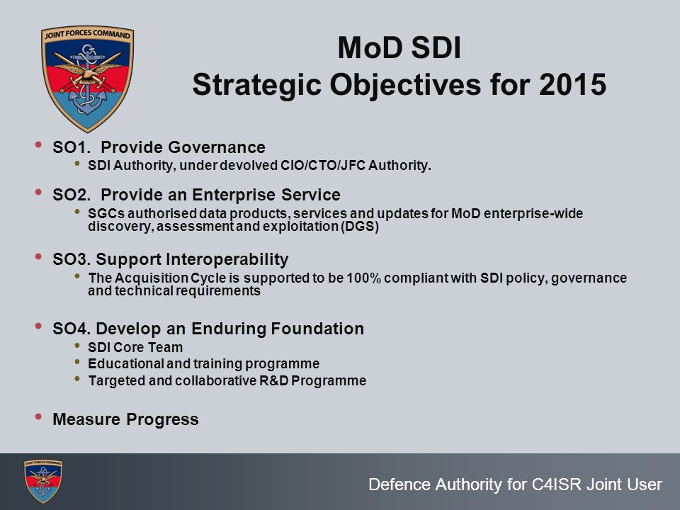 MoD SDI Strategic Objectives for 2015