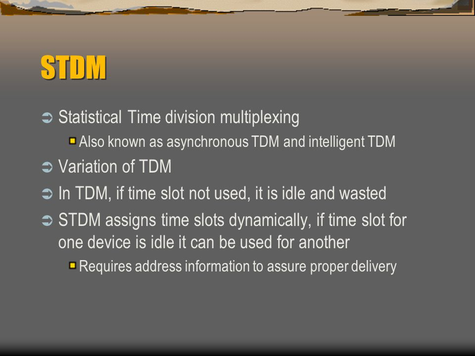 STDM Statistical Time division multiplexing Variation of TDM