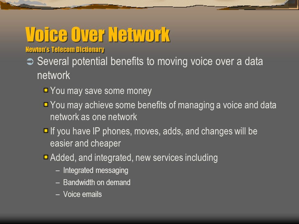 Voice Over Network Newton's Telecom Dictionary