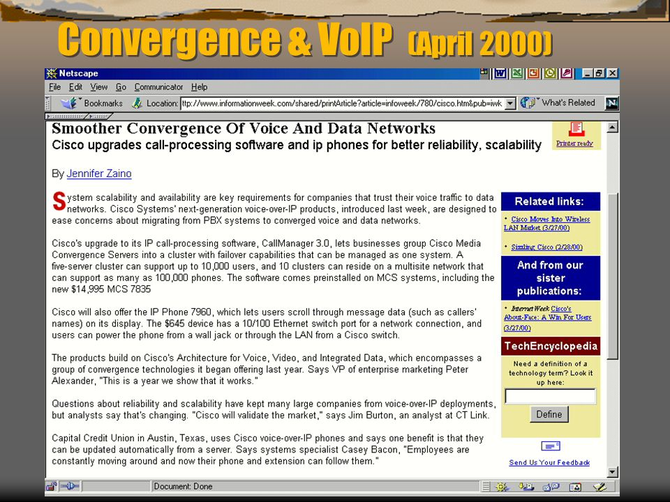 Convergence & VoIP (April 2000)
