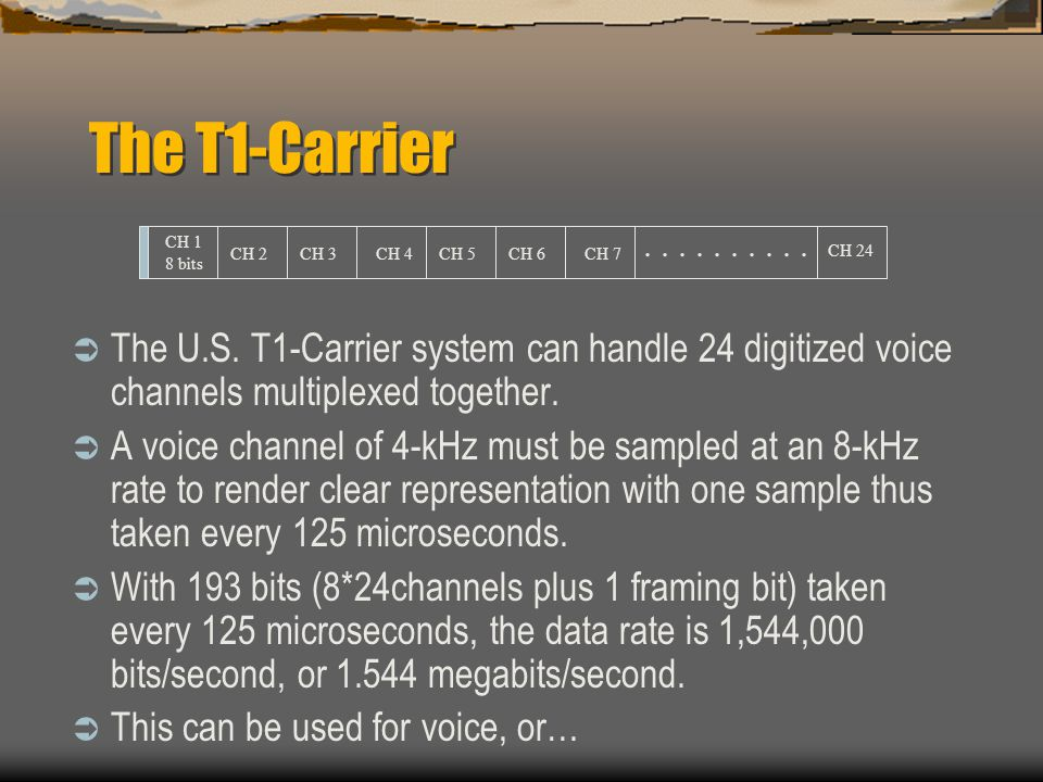 The T1-Carrier . . . . . . . . . . CH 1. 8 bits. CH 2. CH 3. CH 4. CH 5. CH 6. CH 7. CH 24.