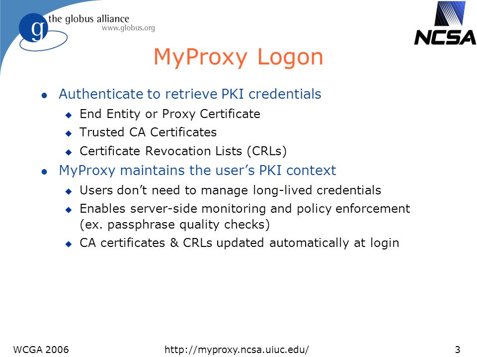 MyProxy Logon Authenticate to retrieve PKI credentials