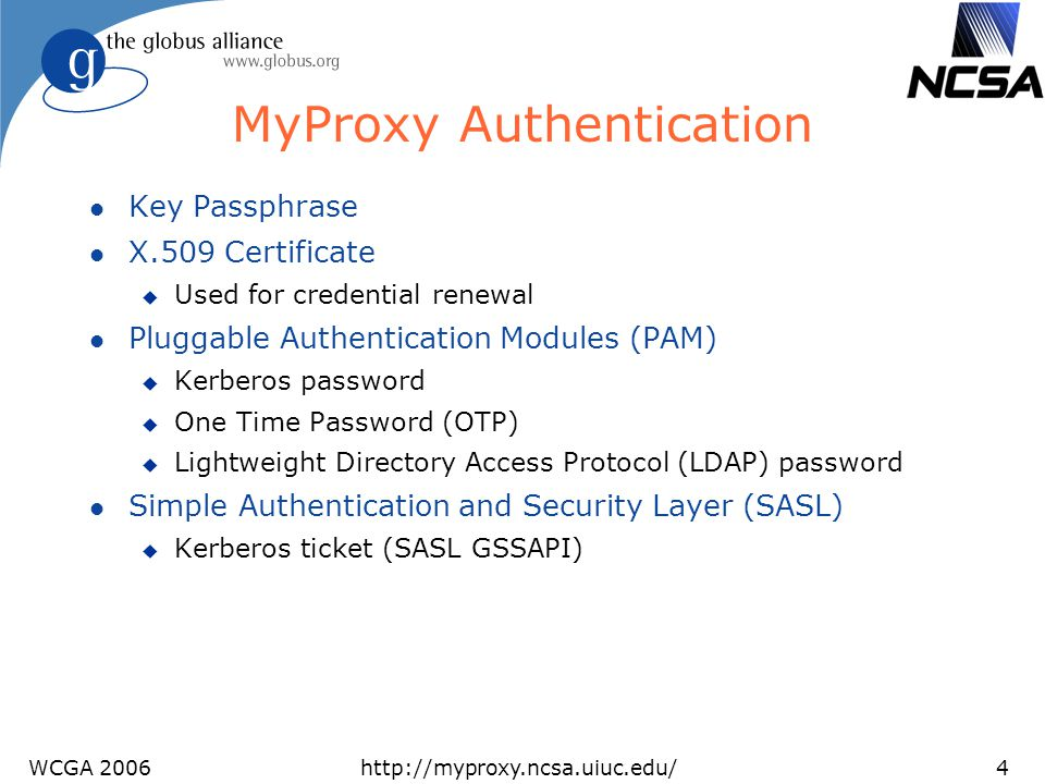 MyProxy Authentication
