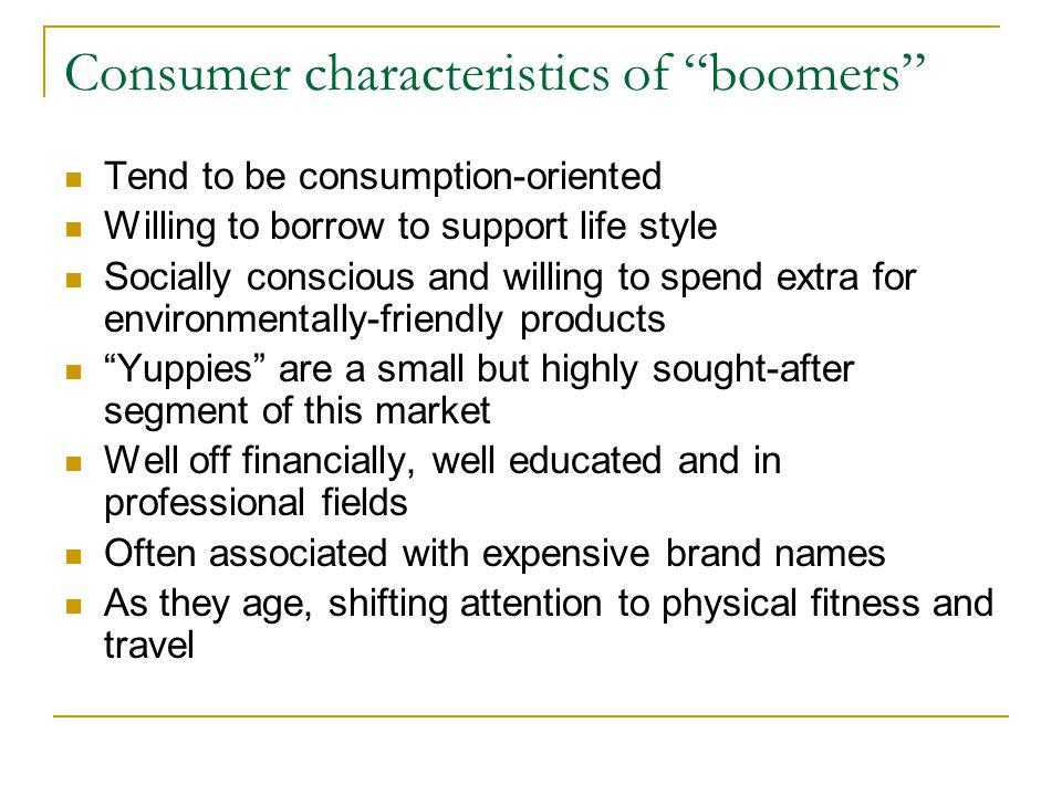 Consumer characteristics of boomers