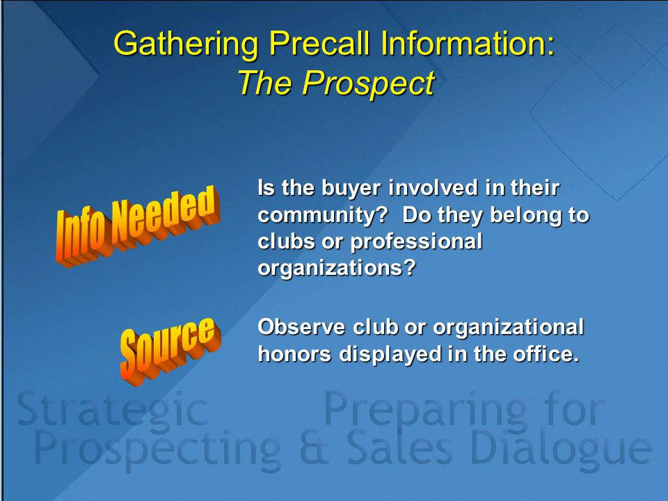 Gathering Precall Information: The Prospect