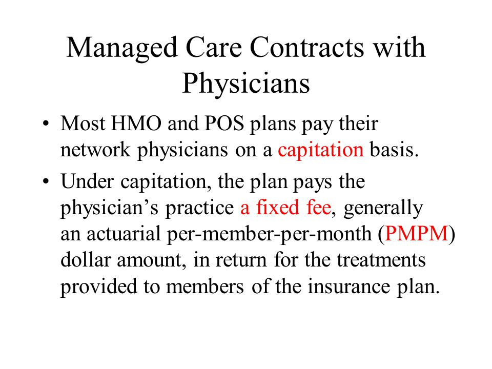Managed Care Contracts with Physicians