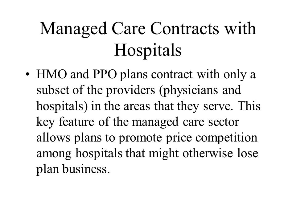 Managed Care Contracts with Hospitals