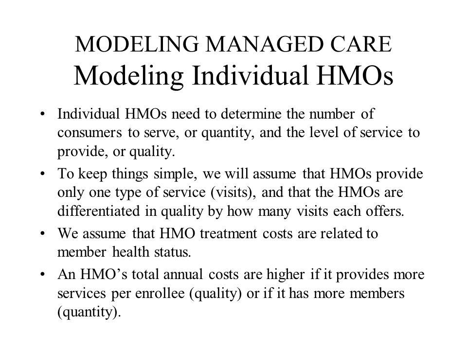 MODELING MANAGED CARE Modeling Individual HMOs