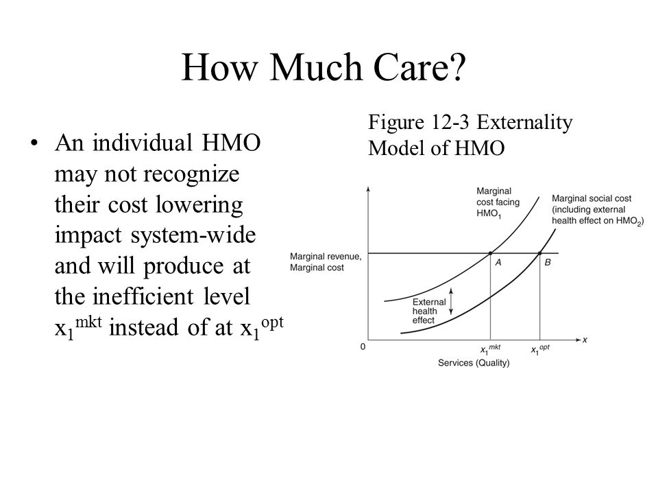 How Much Care Figure 12-3 Externality Model of HMO.