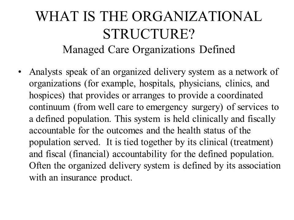 WHAT IS THE ORGANIZATIONAL STRUCTURE