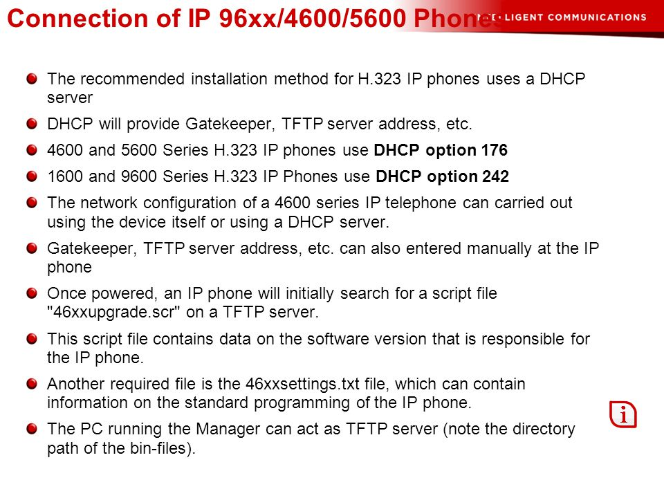 Connection of IP 96xx/4600/5600 Phones