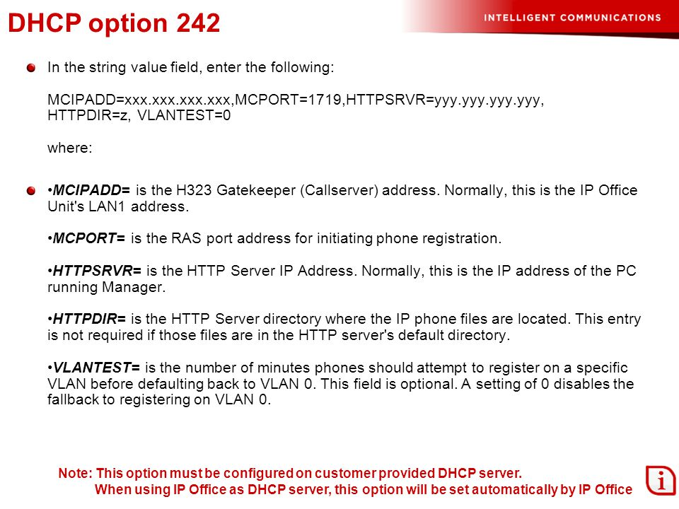 DHCP option 242