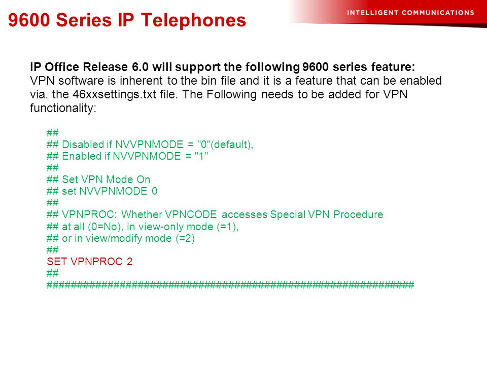 9600 Series IP Telephones IP Office Release 6.0 will support the following 9600 series feature: