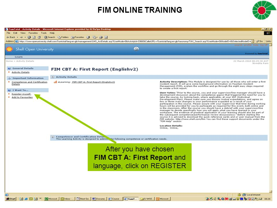 FIM CBT A: First Report and language, click on REGISTER