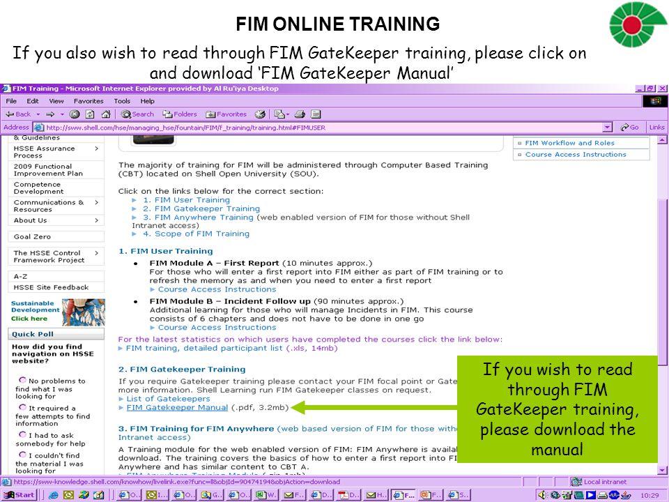 and download 'FIM GateKeeper Manual'