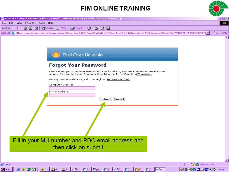 Fill in your MU number and PDO email address and then click on submit