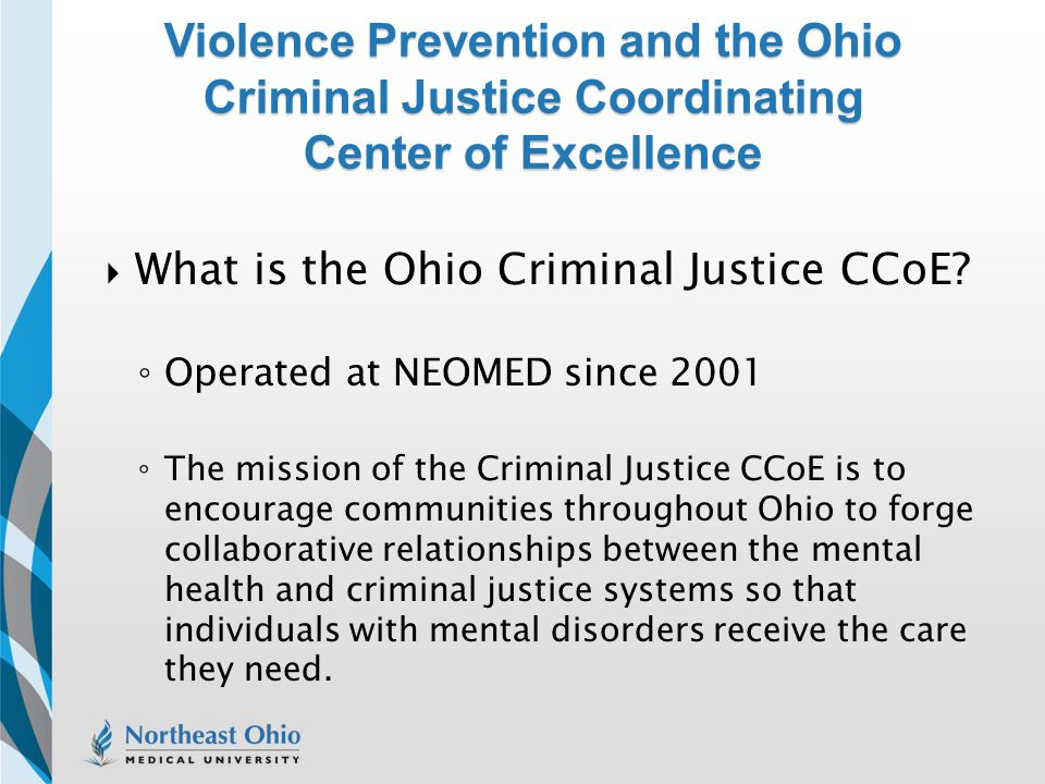 Violence Prevention and the Ohio Criminal Justice Coordinating Center of Excellence
