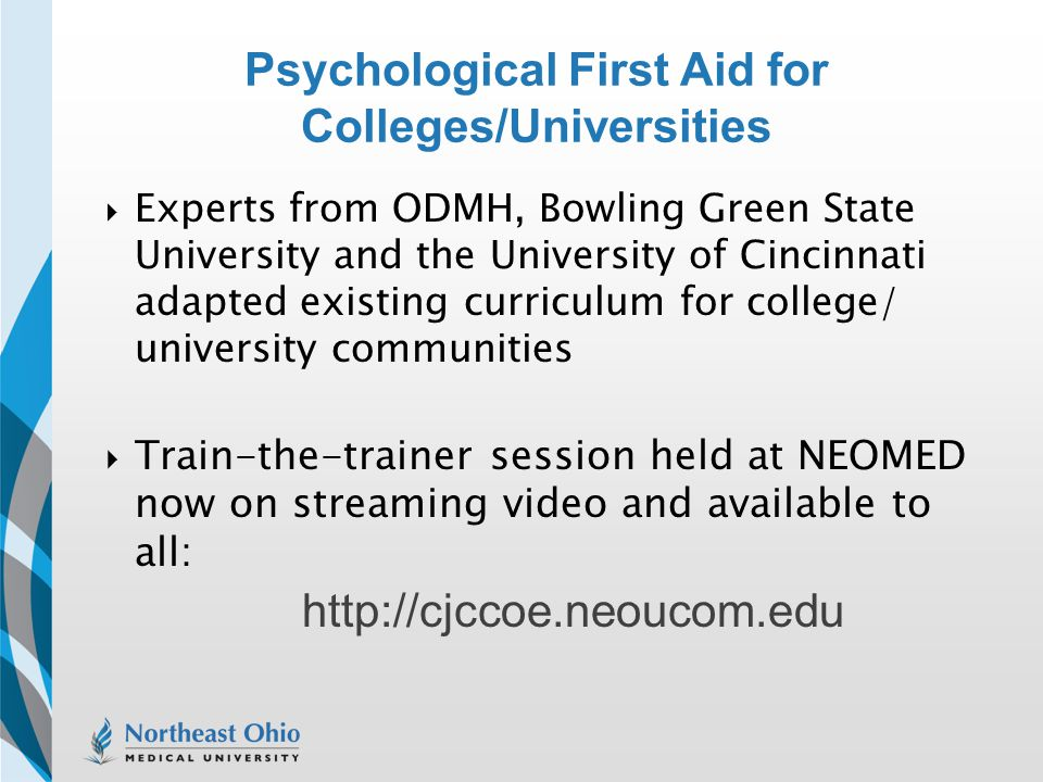 Psychological First Aid for Colleges/Universities