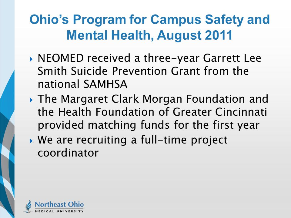 Ohio's Program for Campus Safety and Mental Health, August 2011