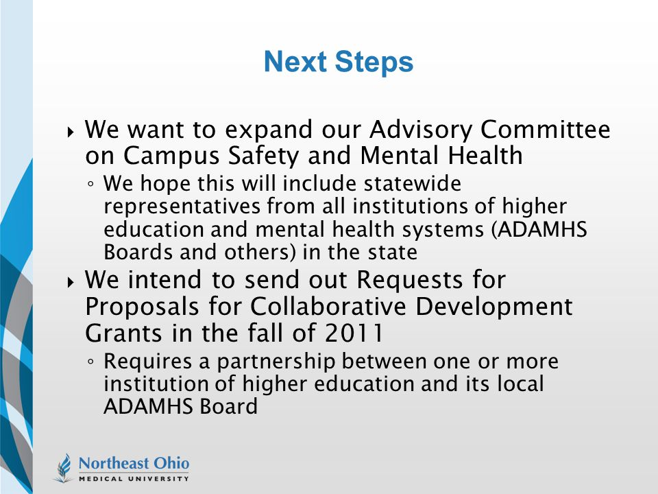 Next Steps We want to expand our Advisory Committee on Campus Safety and Mental Health.