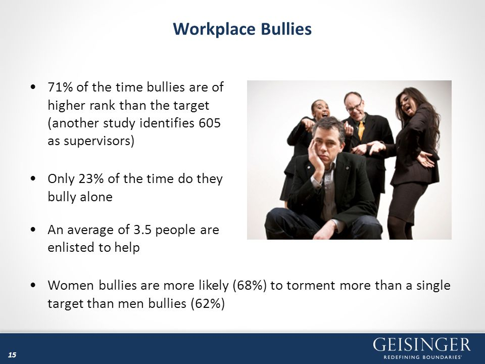Workplace Bullies 71% of the time bullies are of higher rank than the target (another study identifies 605 as supervisors)