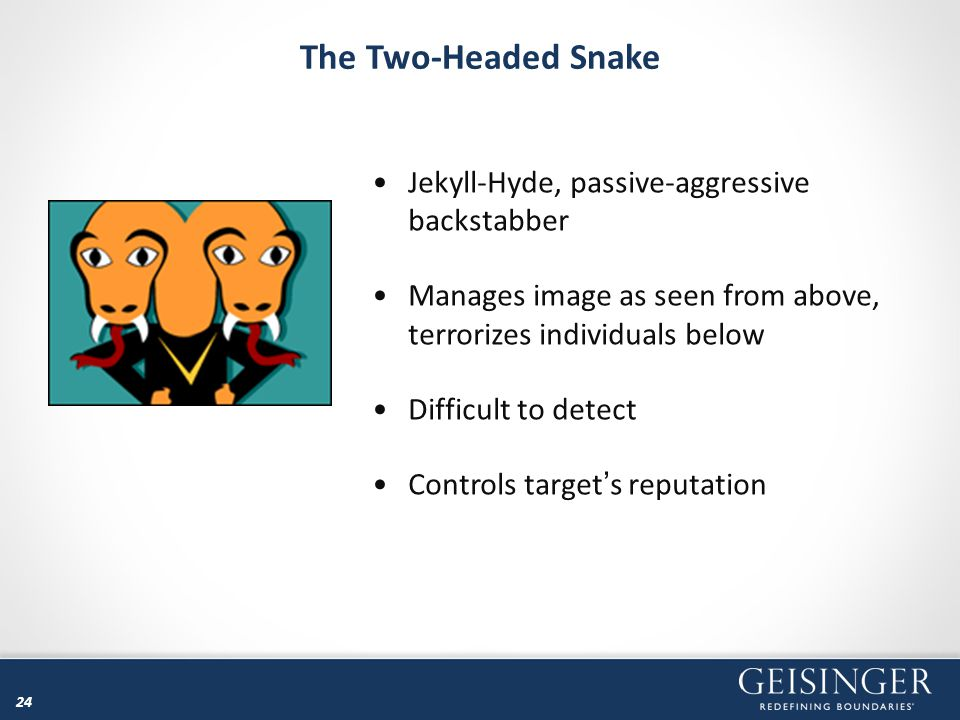 The Two-Headed Snake Jekyll-Hyde, passive-aggressive backstabber