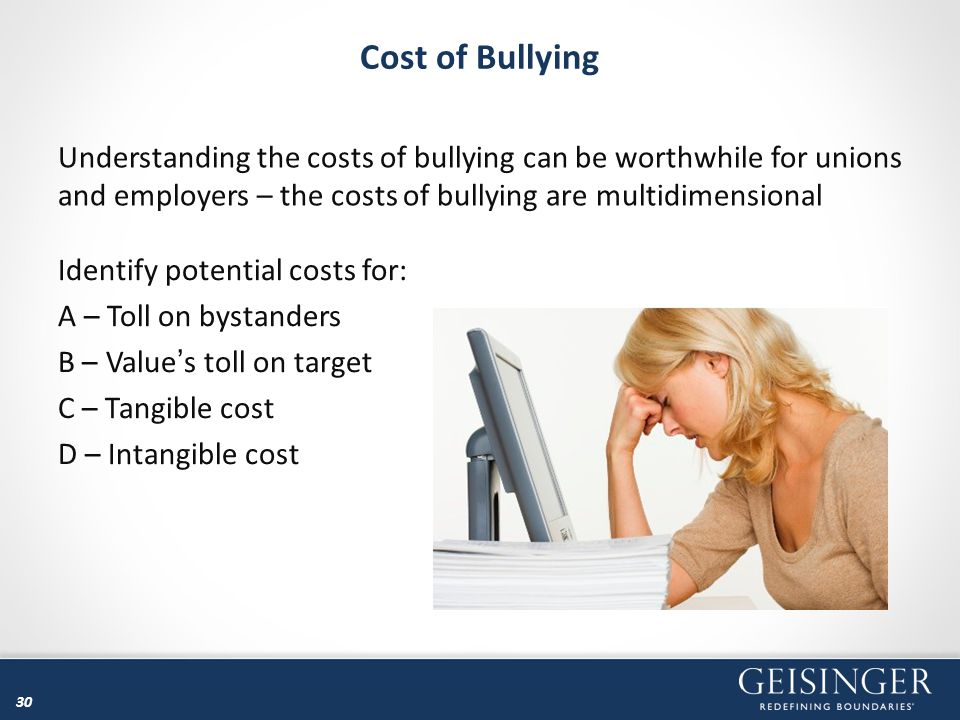 Cost of Bullying Understanding the costs of bullying can be worthwhile for unions and employers – the costs of bullying are multidimensional.