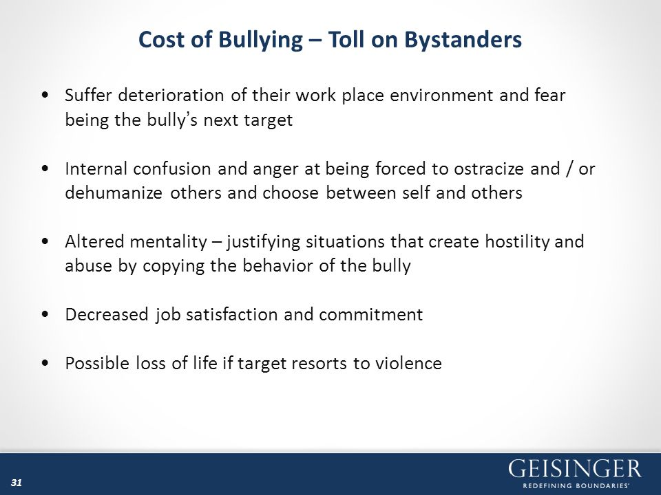 Cost of Bullying – Toll on Bystanders