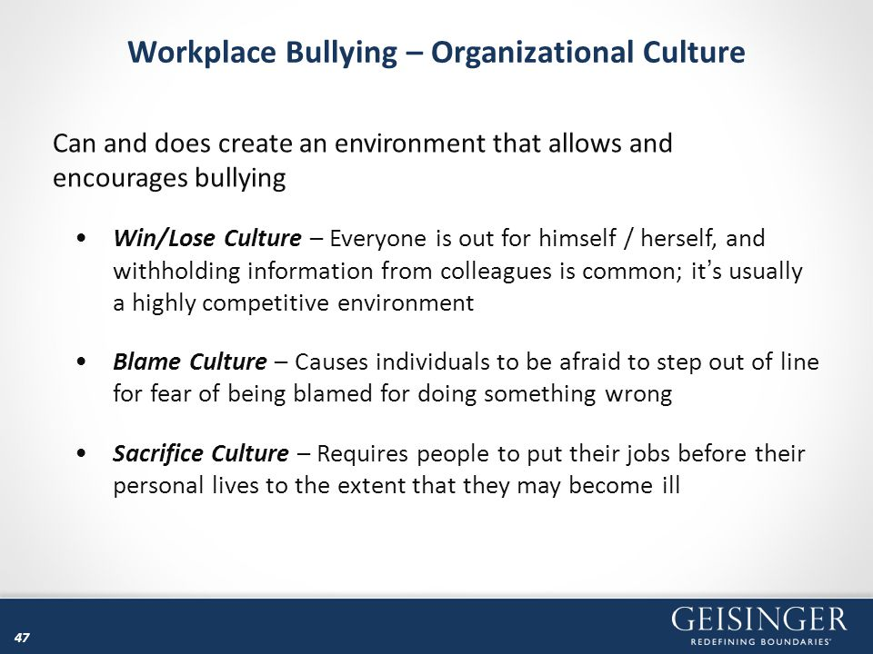 Workplace Bullying – Organizational Culture