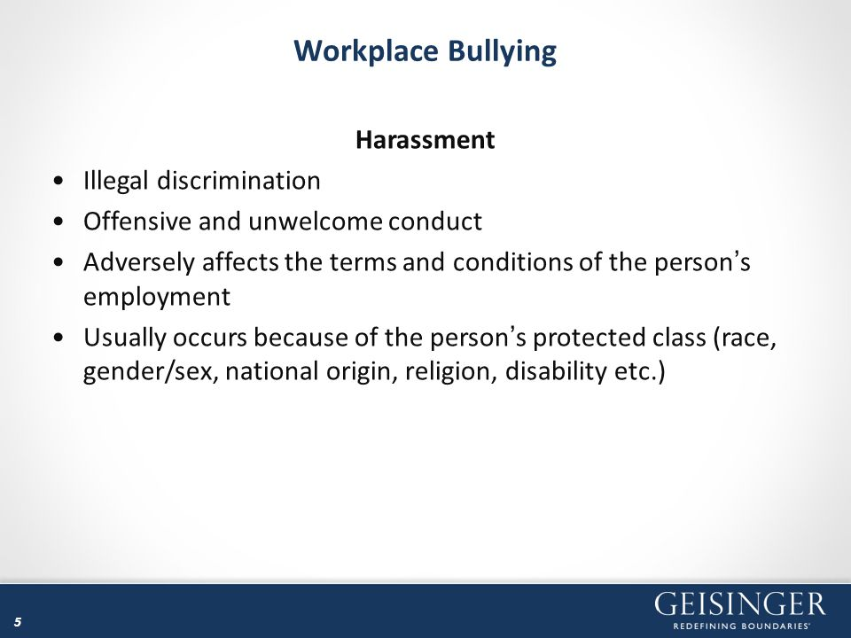 Workplace Bullying Harassment Illegal discrimination